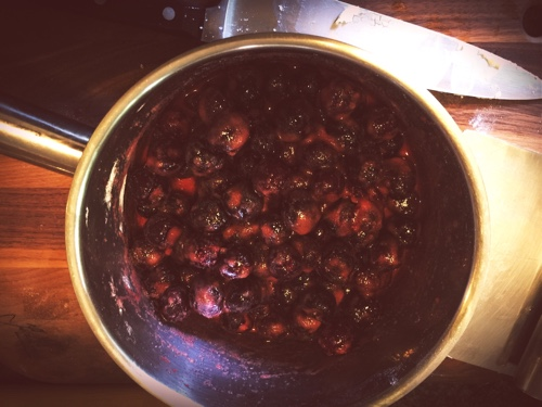 Cherries happily macerating away